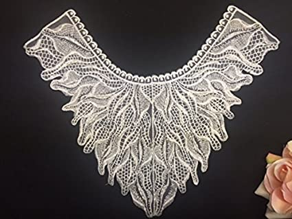 Pair white butterfly venise lace sew on appliques patches