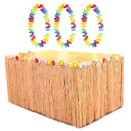 Beige Luau Table Skirt - Hawaiian Grass Table Skirt with 3 Leis and 6 Metal Clamps, Table Tutu, Tropical Party Table Decoration, 8.6 x 2.35 Feet ()