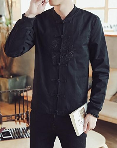 security Black Sleeve Fu Jacket Fashion Kung Linen Button Frog Men's Hooded Causal Long Jacket RxRSHr