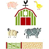 "Farm Animal Stencil - (size 6.5""w x 8.5""h) Reusable Wall Stencils for Painting - Best Quality Farm Animals and Barn Ideas - Use on Walls, Floors, Fabrics, Glass, Wood, Terracotta, and More…"