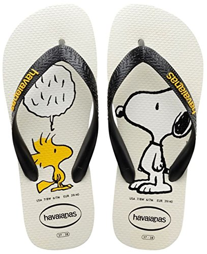 Havaianas Snoopy - Chanclas, Unisex-Adultos Blanco (White/Black 0128)