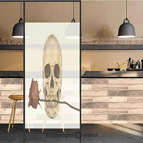 3D Decorative Privacy Window Films,Skull with Dry Red Rose in Teeth Anatomy Death Eye Socket Jawbone Halloween Art Decorative,No-Glue Self Static Cling Glass film for Home Bedroom Bathroom Kitchen Off ()