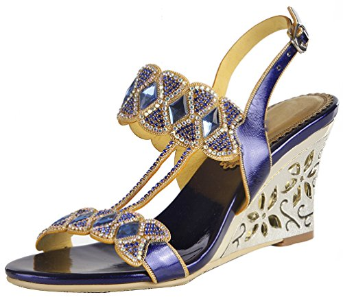 Salabobo L034 Womens Roman Rhinestone Comfort Weddge Open Toe Sandals Glaring Beautiful Pretty Performance Wedding Dress Bride Bridemaid Party Work Job Leisure Shoes Blue Wgs3Mzjw9