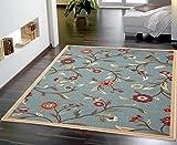 Ottomanson Ottohome Collection Floral Garden Design Non-Skid (Non-Slip) Rubber Backing Modern Area Rug, 3'3'' X 5', Seafoam