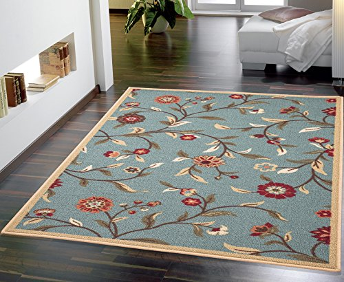 Ottomanson Ottohome Collection Floral Garden Design Non-Skid Rubber Backing Modern Area Rug, 8'2