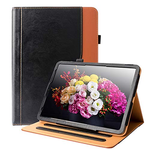 """iPad Pro 11 Case 2018 HLHGR Premium Leather Smart Case Multiple Viewing Angles Stand Folio Cover with Auto Wake/Sleep Pencil Holder and Card Pocket for iPad Pro 11"""" 2018 Release,Black/Brown from HLHGR"""