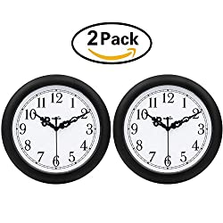 HIPPIH 2 Pack Silent Wall Clock - 10 Inch Non-Ticking Universal Indoor Decorative Clocks for Office/Kitchen/Bedroom/Living Room