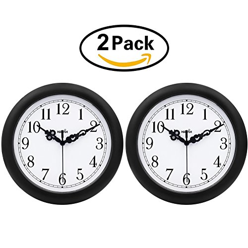 2 Pack Wall Clock - Hippih 10 Inch Non-Ticking & Silent Decorative Battery Operated Easy to Install Indoor Decorative Round Clocks for Home/Office/School