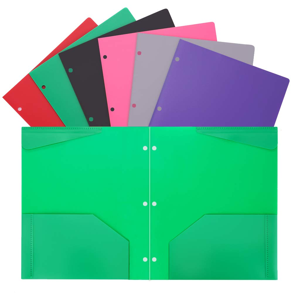 Plastic Folders with Pockets and 3 Hole Heavy Duty 2 Pocket Plastic Folders for Letter Size Papers 6/Pack Assorted Colors WOT I