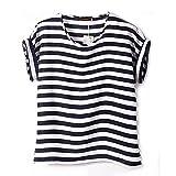 Vobaga Women's Black White Stripe Pattern Printed Loose Batwing Chiffon Blouse T-Shirt L