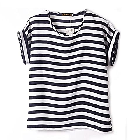 VOBAGA Women's Black White Stripe Pattern Printed Loose Batwing Chiffon Blouse T-Shirt S - Casual Stripe Pattern Shirts