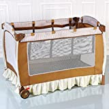 Baby Cot and Change Table Set Foldable Baby Crib Infant Bassinet Bed w/Carry Bag - Brown