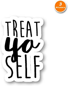 Treat Yo Self Sticker Parks Funny Quote Stickers - 3 Pack - Set of 2.5, 3 and 4 Inch Laptop Stickers - for Laptop, Phone, Water Bottle (3 Pack) S212253