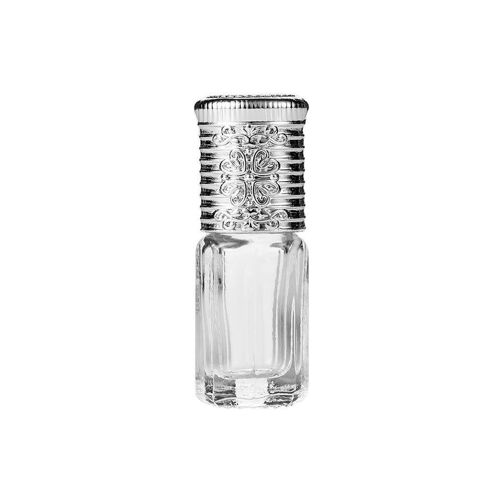 Travel Empty Bottle, Hoshell 3ml Vintage Mini Empty Glass Bottle Essential Oil Perfume Roller Ball Refillable (Silver)