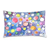ALAZA Watercolor Ball in Solar System Space Cotton Lint Pillow Case,Double-sided Printing Home Decor Pillowcase Size 16''x24'',for Bedroom Women Girl Boy