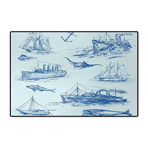 Nautical,Bath Mat,Nautical Underwater Wildlife Shark Ancient Boat Ships Navy Stormy Weather,Doormats for Inside Non Slip Backing,Blue Baby Blue 16