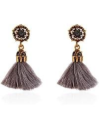 Women Girl Vintage hollow Crystal Tassel Dangle Stud Earrings Jewelry
