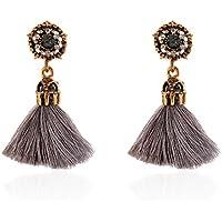 DZT1968 Women Girl Vintage hollow Crystal Tassel Dangle Stud Earrings Jewelry