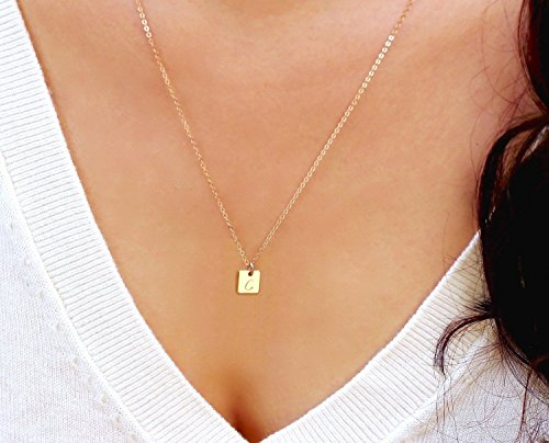 Tiny Initial Necklace, Gold Square Tag Necklace, Personalized Small Letter Necklace, Silver or Rose Gold Monogram Square Shaped (Tiny Tag Necklace)