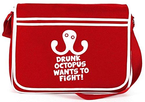 Shirtstreet24, DRUNK OCTOPUS, Retro Messenger Bag Kuriertasche Umhängetasche Rot
