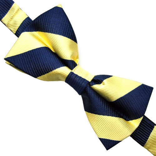 100% Silk Mens Stripe Bowtie Self Tie Bow Tie , Great for a Wedding or Tuxedo (M : Blue - Square Stores Suburban