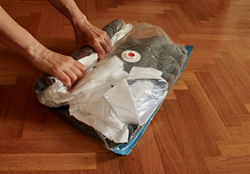 Vacuum storage bags with zip for clothes pack of 6 (2 x jumbo 2x medium 2 x small) +15% thicker nylon MY VACUUM BAG TO STORE reusable, roll up vacuum storage bags for pillows, duvets, anti moth