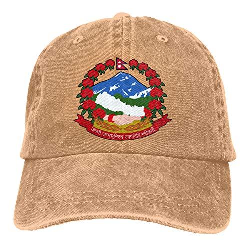 2 Pack National Emblem of Nepal Adjustable Baseball Caps Denim Hat Trucker Cap for Adult]()