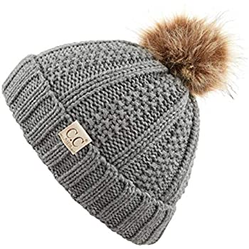 47d5b37a4a2 C.C Exclusives Kids Ages 2-7 Warm Chunky Thick Stretchy Knit Slouch Beanie  Skull Hat with Pom (Lt. Mel Grey-Fuzzy Lining)