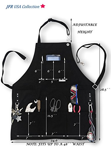 BEST CHOICE Waterproof All-Purpose Bib Apron - Workshop Waxed Canvas - 7x Pockets & 2 Shackles for Accessories & Tools - Totally Adjustable Neck and Waist Strap - Size S-XXL for Men & Women. by JFR USA Collection (Image #5)