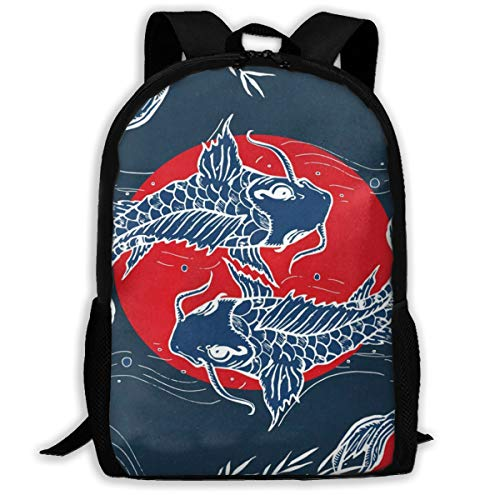 Casual Boys Daypack Backpacks For Middle School Vintage Stylish Chinese Carp Koi Fishes Travel Laptop Backpack Bookbag For Girls Boys Men Women