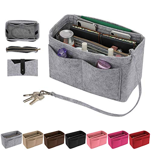 Purse Insert, Bridawn Felt Handbag Organizer Tote Shaper with Keys Chain for LV Speedy, Neverfull, Longchamp, Light Gray, XL