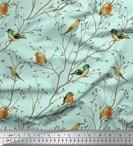 Green Cotton Voile - Soimoi Green Cotton Voile Fabric Leaves & Flowerpecker Bird Print Fabric by The Yard 42 Inch Wide