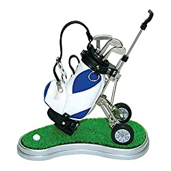 Golf Desktop,Mini Desktop Golf Clock Ball Pens Holder/Stand,Business Gift Golf Pens with Golf Bag Holder Trolley Miniature Golf Caddy With Metal Pens Bag Holder