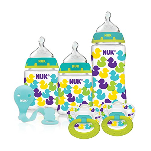 NUK Fashion Confetti Ducks Orthodontic Bottle and Pacifier Gift Starter Set (Duck Baby Bottle)