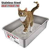 Yangbaga Stainless Steel Litter Box for Cat and Rabbit - Odor Control Litter Pan - Non Stick Smooth Surface - Easy to Clean - Never Bend - Rust Proof - Large Size with High Sides and Non Slip Rubber Feets
