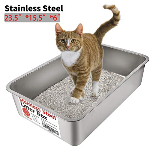 (Yangbaga Stainless Steel Litter Box for Cat and Rabbit, Odor Control Litter Pan, Non Stick Smooth Surface, Easy to Clean, Never Bend, Rust Proof, Large Size with High Sides and Non Slip Rubber Feets)