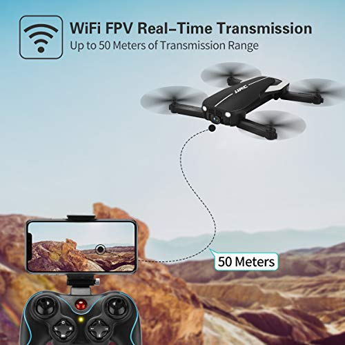 Drones with 1080P HD Camera for Beginners,JJRC Foldable Drone with Optical Flow Positioning, FPV Wifi Live Video Quadcopter for Adults,22mins Long Flight Time Rc Drone with 2 Batteries(Black)