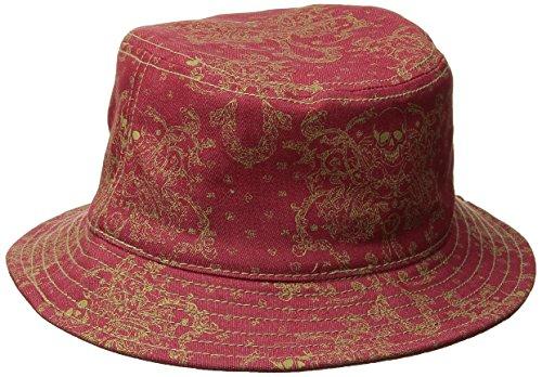 True Religion Men's Metallic-Print Bucket Hat, True Red, Small/Medium