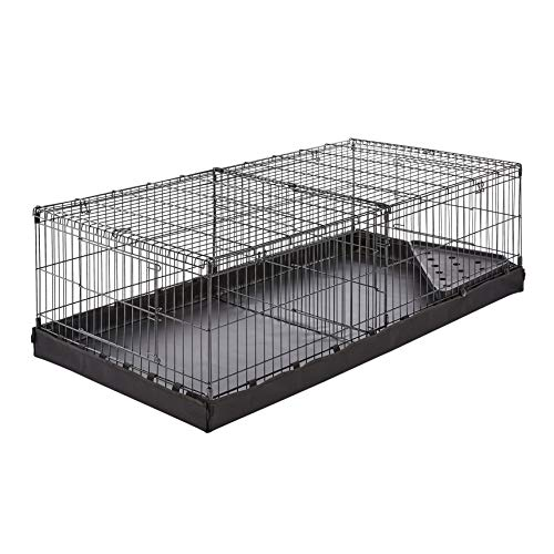 - AmazonBasics Canvas Bottom Dual Habitat Pet Cage with Divider Set - 48 x 14 x 24 Inches, Black