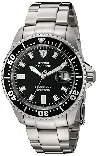DETOMASO Men's DT1025-A SAN REMO Automatic Divers Watch  Classic schwarz/silber Analog Display Japanese Automatic Silver Watch