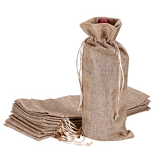 Hipiwe 12 Pcs Wine Bags, Champagne Bottle Bags Covers Natural Jute Wine Bottles Gift Bags Sacks with Drawstring for Wedding Party Favors Christmas Wine Tasting Party Supplies