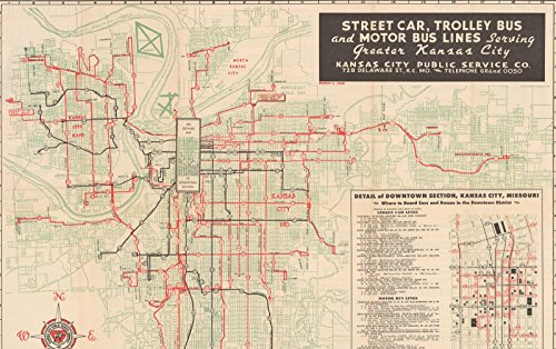 Historic Transit Map of Kansas City, March 1 1948 Railroad Cartography | Vintage Poster Art Reproduction | 24in x 16in