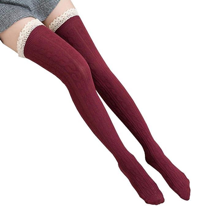 0b29b530053 Amazon.com  FORUU Women Over The Knee Long Socks Lace Thigh High Stocking  Socks  Clothing