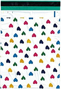 10x13 (500) Colorful Hearts Designer Poly Mailers Shipping Envelopes Boutique Custom Bags By ValueMailers