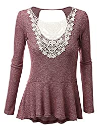 Women's Stitch Front Crochet Lace V Neck Long Sleeve Casual Tops Tees