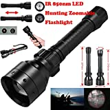Dressffe Black 850nm IR Night Vision Light- Long Range Infrared 10W IR 850nm T50 LED Hunting Light Night Vision Torch 18650,Shockproof and Waterproof