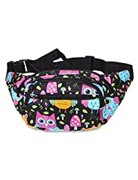 Ever Moda Fanny Pack Print Collection - Neon Muti Owls