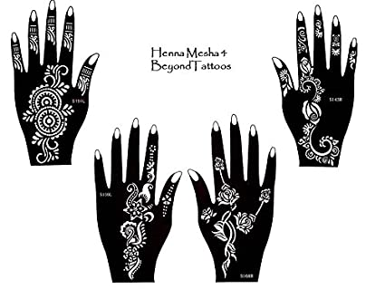 amazon com tattoo stencil template set of 4 different sheets henna