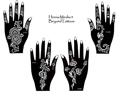 Tattoo Stencil Template 4pezzi set Henna Designs per le mani per uso singolo mesha4 Beyond