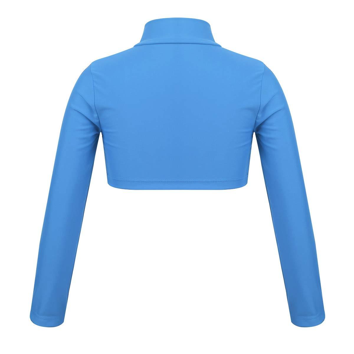 zdhoor Kids Girls Long Sleeves Crop Top Basic Tight Yoga Costume Mock Neck Dancewear Athletic Sportswear